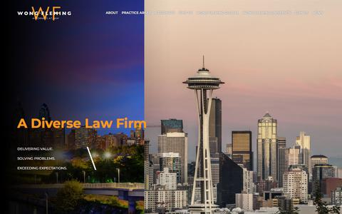 Screenshot of Home Page wongfleming.com - Wong Fleming | A Diverse Global Law Firm - captured Sept. 21, 2018