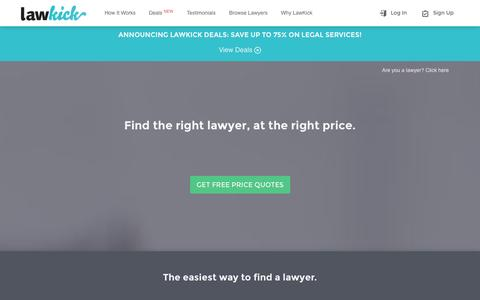 Screenshot of Home Page lawkick.com - The Easiest Way to Find a Lawyer | LawKick - captured Sept. 19, 2014