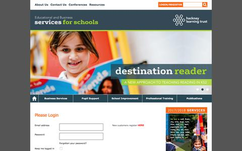 Screenshot of Login Page hackneyservicesforschools.co.uk - Hackney Learning Trust - Please Login - captured July 12, 2017