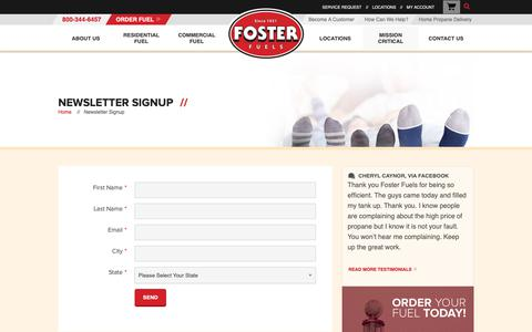 Screenshot of Signup Page fosterfuels.com - Newsletter Signup | Foster Fuels - captured Oct. 10, 2018