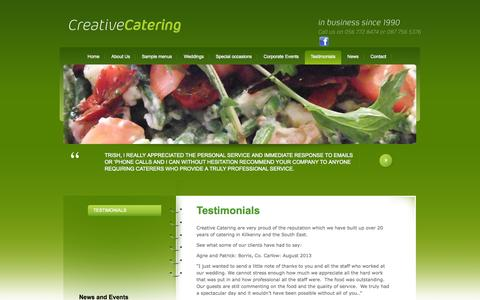 Screenshot of Testimonials Page creativecatering.ie - Caterer in Kilkenny - Testimonials - captured Oct. 3, 2014