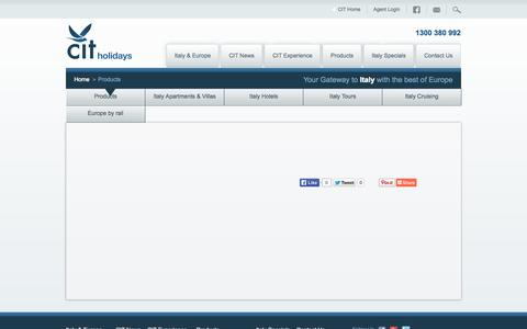 Screenshot of Products Page cit.com.au - CIT Holidays - Hotels, Apartments, Villas, Car rental, Europe rail, Europe airfares, Italy tours, Italy cruising - captured Oct. 1, 2014