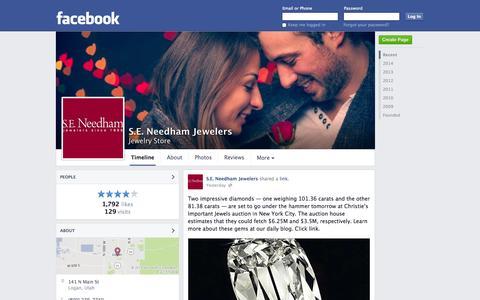 Screenshot of Facebook Page facebook.com - S.E. Needham Jewelers - Logan, UT - Jewelry Store | Facebook - captured Oct. 23, 2014