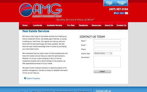 Screenshot of Services Page amgrents.com - homes-for-sale - captured Oct. 4, 2014