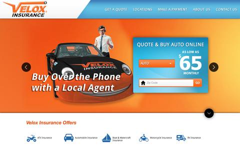 Screenshot of Home Page veloxinsurance.com - Velox Insurance - Auto Insurance, Home, Commercial & More | Atlanta, GA - captured Nov. 13, 2017