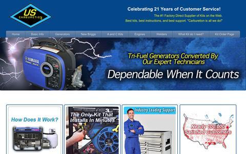 Screenshot of Home Page propane-generators.com - Generator Conversion Kits to Propane and Natural Gas. - captured Jan. 23, 2015