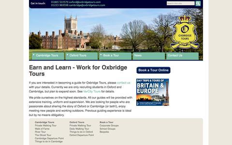 Screenshot of Jobs Page oxbridgetours.com - Oxford & Cambridge Student Jobs - Work for Oxbridge Tours - captured Sept. 21, 2018