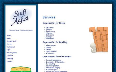 Screenshot of Services Page stuffadjust.com - Services - Stuff Adjust - captured Oct. 20, 2018