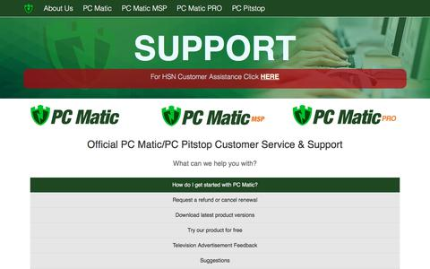 Screenshot of Support Page pcpitstop.com - Official PC Matic/PC Pitstop Support - captured July 14, 2018