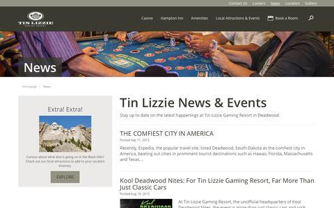 Screenshot of Press Page tinlizzie.com - Tin Lizzie Gaming Resort News | Deadwood, SD | Hotel, Casino and Restaurant - captured Feb. 17, 2016