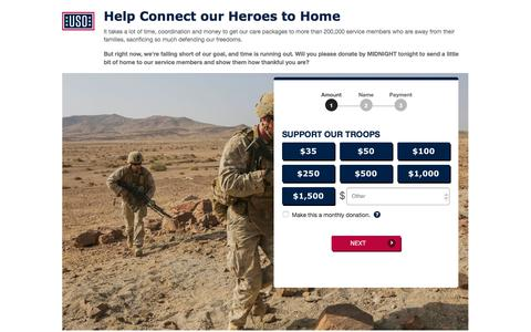 Screenshot of Landing Page uso.org - Donate | USO.org - captured July 20, 2018