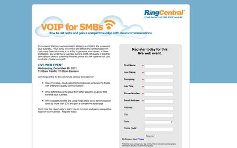 Screenshot of Landing Page ringcentral.com - Live Webinar - VOIP for SMBs, How to cut costs and gain a competitive edge with cloud communications - captured July 21, 2016