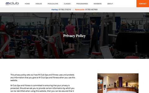 Screenshot of Privacy Page mclubspaandfitness.co.uk - Privacy Policy - M Club Spa and Fitness - captured July 25, 2018