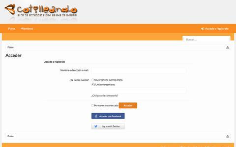 Screenshot of Login Page cotilleando.com - Acceder | Cotilleando - El mejor foro de cotilleos sobre la realeza y los famosos. Felipe y Letizia. - captured Nov. 19, 2017