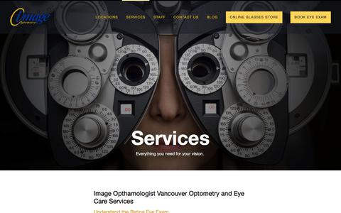 Screenshot of Services Page image.ca - Services | Eye Exams, Fittings, Treatments | 604-685-3937 - captured Oct. 14, 2017