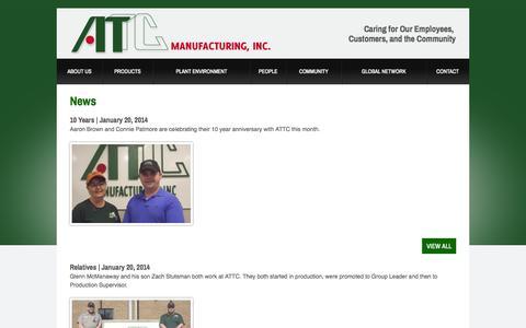 Screenshot of Press Page attcmfg.com - News | ATTC - captured Oct. 4, 2014