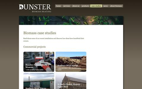 Screenshot of Case Studies Page dunster.biz - Dunster Biomass Heating | ETA boiler case studies - captured Nov. 24, 2016