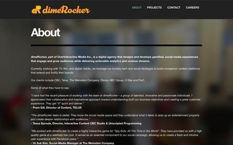 Screenshot of About Page dimerocker.com - About | dimeRocker - captured Sept. 17, 2014