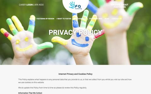 Screenshot of Privacy Page afafostering.com - Privacy Policy | AFA Fostering - captured Feb. 6, 2016