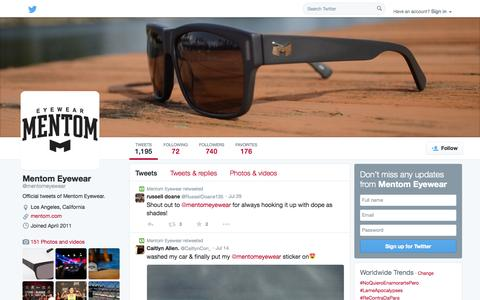 Screenshot of Twitter Page twitter.com - Mentom Eyewear (@mentomeyewear) | Twitter - captured Oct. 23, 2014
