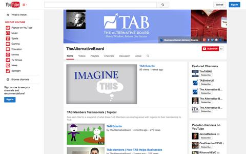 Screenshot of YouTube Page youtube.com - TheAlternativeBoard  - YouTube - captured Oct. 26, 2014