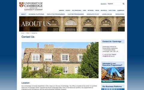Screenshot of Contact Page cam.ac.uk - Contact details: CISL's Cambridge office - captured Oct. 22, 2014