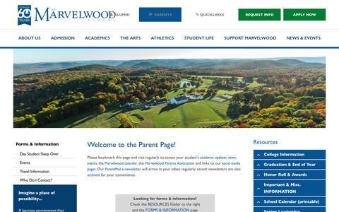 Screenshot of Privacy Page marvelwood.org - Parents - Marvelwood School - captured Nov. 27, 2016