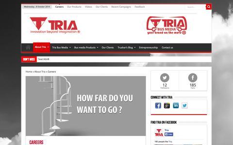 Screenshot of Jobs Page tria.co.ke - Careers | Tria Group - captured Oct. 7, 2014