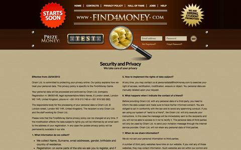 Screenshot of Privacy Page find4money.com - Find4Money::Contacts - captured Sept. 30, 2014