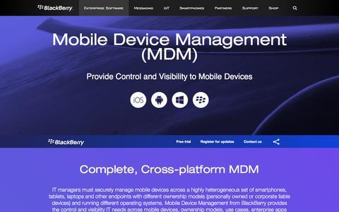 Screenshot of blackberry.com - Mobile Device Management (MDM) - United States - captured July 9, 2016