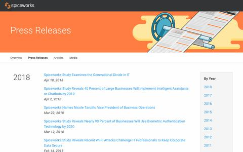 Screenshot of Press Page spiceworks.com - Press Releases - Press Center - captured April 18, 2018