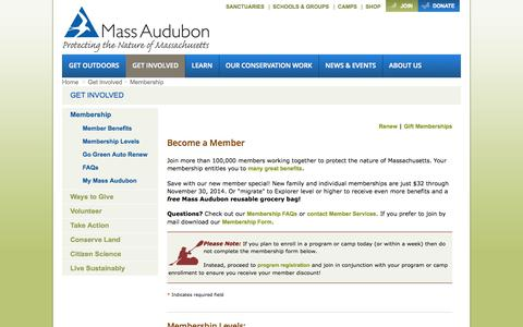 Screenshot of Signup Page convio.net - Introductory Membership - Mass Audubon - captured Oct. 29, 2014