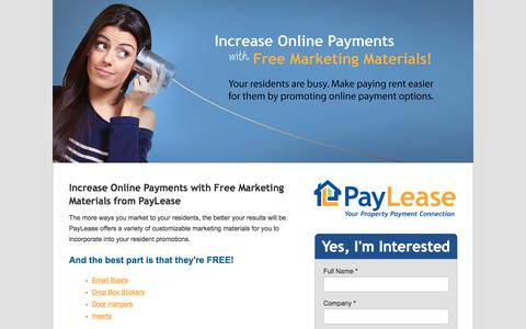 Screenshot of Landing Page paylease.com - Free Marketing | PayLease - captured Aug. 19, 2016