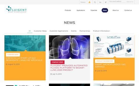 Screenshot of Press Page fluigent.com - Microfluidic Blog - News - Events - Tips - Applications | Fluigent - captured Aug. 18, 2018