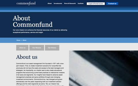 Screenshot of About Page commonfund.org captured Jan. 30, 2016