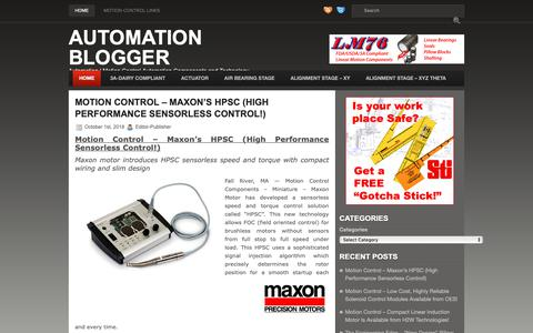 Screenshot of Home Page automation-blogger.com - Motion Control Automation Blog | Components and Technology - captured Oct. 1, 2018