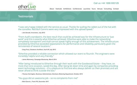 Screenshot of Testimonials Page etherlive.co.uk - Testimonials | Etherlive Event Technology Services - captured Oct. 3, 2014
