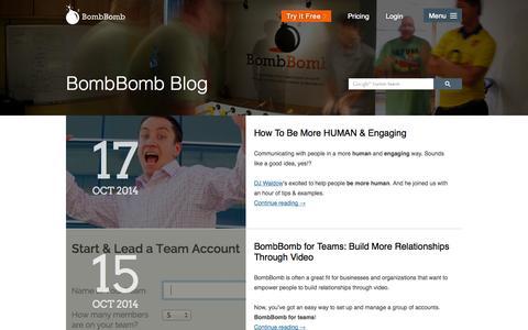 Screenshot of Blog bombbomb.com - BombBomb Video Email Marketing Blog - captured Oct. 22, 2014