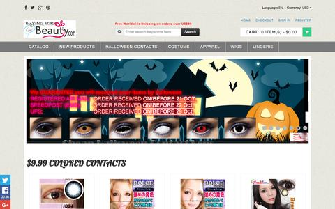 Screenshot of Home Page colorlens4less.com - Colored Contacts, Halloween Contacts,Color Contact Lenses and Crazy Contact Lenses - captured Jan. 15, 2016