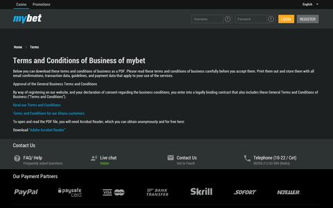 Screenshot of Terms Page mybet.com - Terms | mybet - captured May 12, 2017