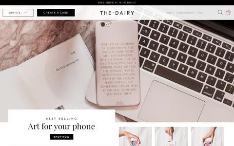 Screenshot of Home Page thedairy.com - Designer iPhone & Samsung Galaxy Cases – The Dairy - captured March 17, 2019