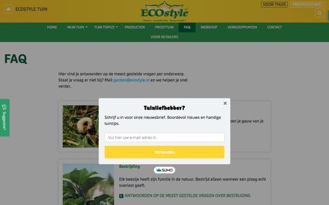 Screenshot of FAQ Page ecostyle.nl - FAQ | ECOstyle Tuin - captured Feb. 17, 2018