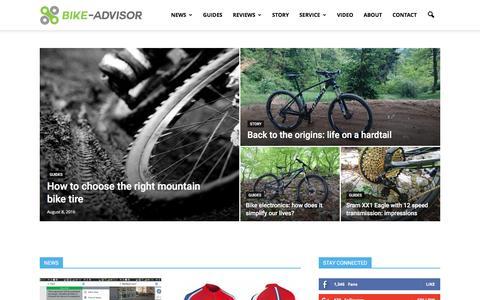 Screenshot of Home Page bike-advisor.com - Bicycle reviews, bicycle guides, bike news |Bike Advisor - captured Nov. 25, 2016