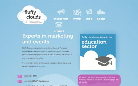 Screenshot of Home Page fluffyclouds.co.uk - Fluffy Clouds - Experts in Education Advertising - captured Sept. 30, 2014