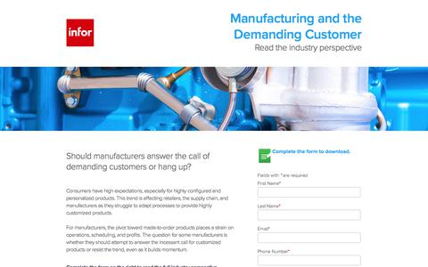 Screenshot of Landing Page infor.com - Manufacturing and the Demanding Customer - Industry perspective - captured Sept. 18, 2017