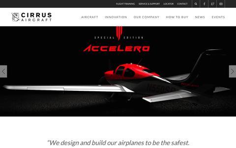 Screenshot of Home Page cirrusaircraft.com - Cirrus Aircraft | Home - captured July 20, 2015