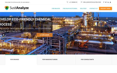 Screenshot of Home Page sustanalyze.com - Simulation software to develop products that are profitable - captured Sept. 21, 2018