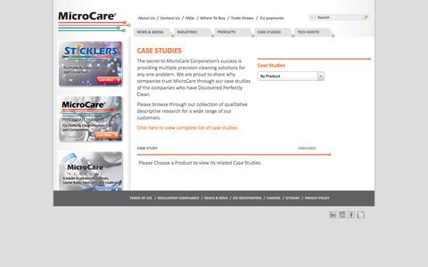 Screenshot of Case Studies Page microcare.com - Precision Cleaning Case Studies | MicroCare - captured Oct. 27, 2014