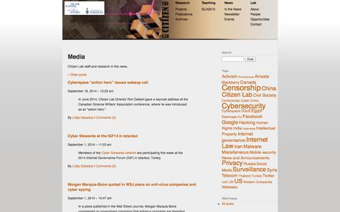 Screenshot of Press Page citizenlab.org - The Citizen Lab - Media - captured Oct. 28, 2014