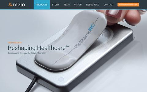 Screenshot of Products Page mc10inc.com - Wearable Health Systems | MC10 - captured Dec. 5, 2016